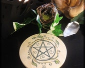 Wood Swirling Leaves Pentacle Altar Tile