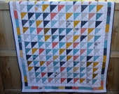 BIRTHDAY SALE - Figures Lap Quilt - Triangles Patchwork - Signature Quilt