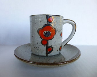 Expresso Cup and Saucer, Vintage Demitasse Cup , 1970s Coffee Cup , Retro Japan Cup, 70s Stoneware Cup, Mid Century Expresso Cup ,Mod Cup