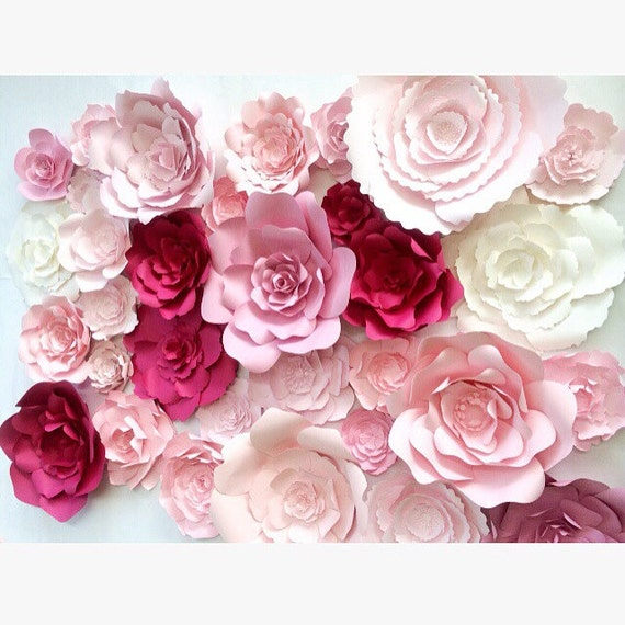 Large paper flower wall large paper flower backdrop for How to make a flower wall hanging