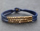 Cube Blue Beaded Three Strand Bracelet