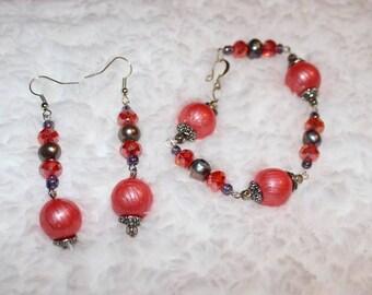 Peachy Orange Beaded Bracelet & Earring Set