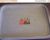 Valentines SALE Very Vintage Metal Serving Trays, (2) Ladies, Tea Party, Shabby, 1920s 30s, Green