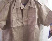Valentines SALE Vintage Tan Army Issue Shirt, NOS, Unused, Short Sleeve, Khaki, Grunge, Hipster, WW Ii, Korean Wars, Mens Medium