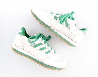 Vintage Sneakers * Sporty Green Striped Trainers * Children's Running Shoes * big kids size 1