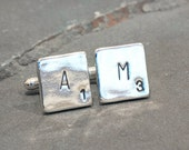 Sterling Silver Personalized Scrabble Cufflinks