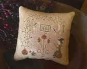 Griselda's Garden, finished primitive cross stitched, pillow tuck by Shelly Auen for Primitive Stitchin'