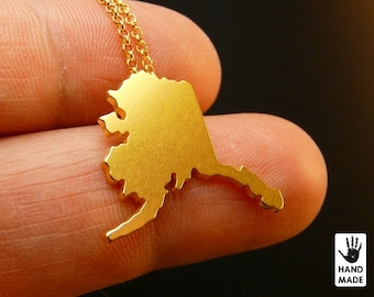 ALASKA State Map Handmade Goldplated Sterling Silver .925 Necklace in a gift box