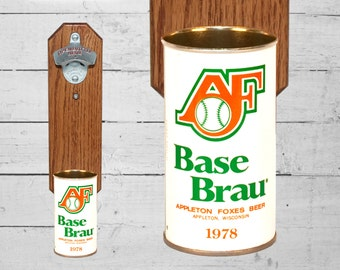 AF Wall Mount Bottle Opener with Vintage Appleton Foxes Base Brau Beer Can Cap Catcher - Gifts for Groomsmen