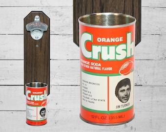 Denver Broncos Bottle Opener with Vintage Orange Crush Bronco Can Cap Catcher Jim Turner