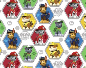 Paw Patrol to the Rescue on white Cotton Print Fabric by David Textiles - you choose the cut
