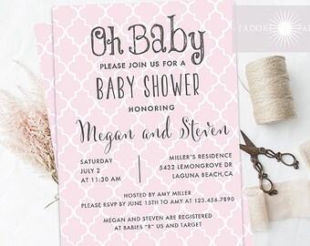 Baby Shower Invitation, Quatrefoil Shower Invite, Baby Shower Invite, Oh Baby Invite, Printable Shower, Girl Baby Shower, jadorepaperie