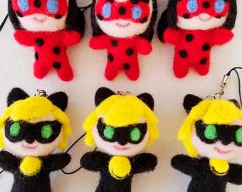 Miraculous Ladybug and Cat Noir Needle Felt Keychain dolls, Ladybug and Cat Noir keychain figures, handmade needle felt Ladybug and Cat Noir
