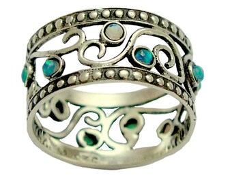 Sterling Silver Band, blue opals band, blue gemstones band, oxidized silver ring, wide silver ring, filigree ring - Shades of spring. R1267