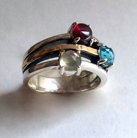 Mothers Ring, silver gold ring, birthstones ring, multi stone ring, garnet, ctrine, topaz ring, mothers gift - What makes you happy R2214