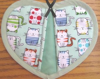 Multi-Colored Kitties on Mint Green Potholders - Set of 2