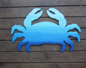 Blue Ombre Crab. XL Ombre Crab Wall Art. Beach House Decor. Coastal Decor. Handmade Crab Wall Decor. Made to Order