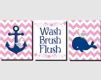 Nautical Bathroom Art Pink Navy Brother Sister Wash Brush Flush