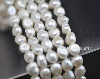 """Freshwater Potato Pearls 10-11mm, White Nugget Baroque Pearls - (PL15-3)/ 15"""" full strand"""