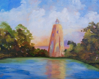 Bald Head Island Old Baldy Lighthouse Modern Impressionist Original Oil Landscape Painting by Rebecca Croft