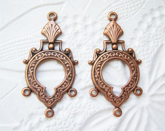 Antiqued copper chandelier earring stampings with three rings, lot of (2) -  SB100