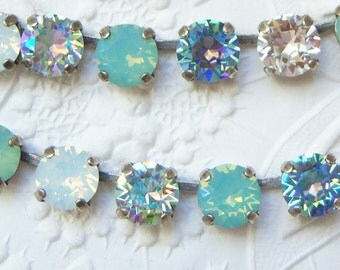 Swarovski aquamarine dream crystal necklace, pacific opal mixed crystal set in antiqued silver plated settings-GB1818