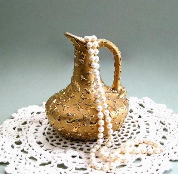 Vintage Pitcher Vase Weeping Gold Vase Bud Vase Ceramic Vase