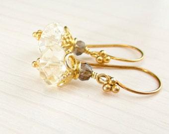 Gold Citrine Earrings, Smoky Quartz Citrine Earrings, Bali Gold Vermeil, Natural Citrine Earrings, Citrine Dangle, November Birthstone, Drop