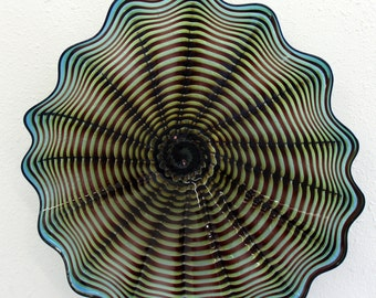 Beautiful Hand Blown Glass Art Wall Platter Bowl 6467 ONEIL
