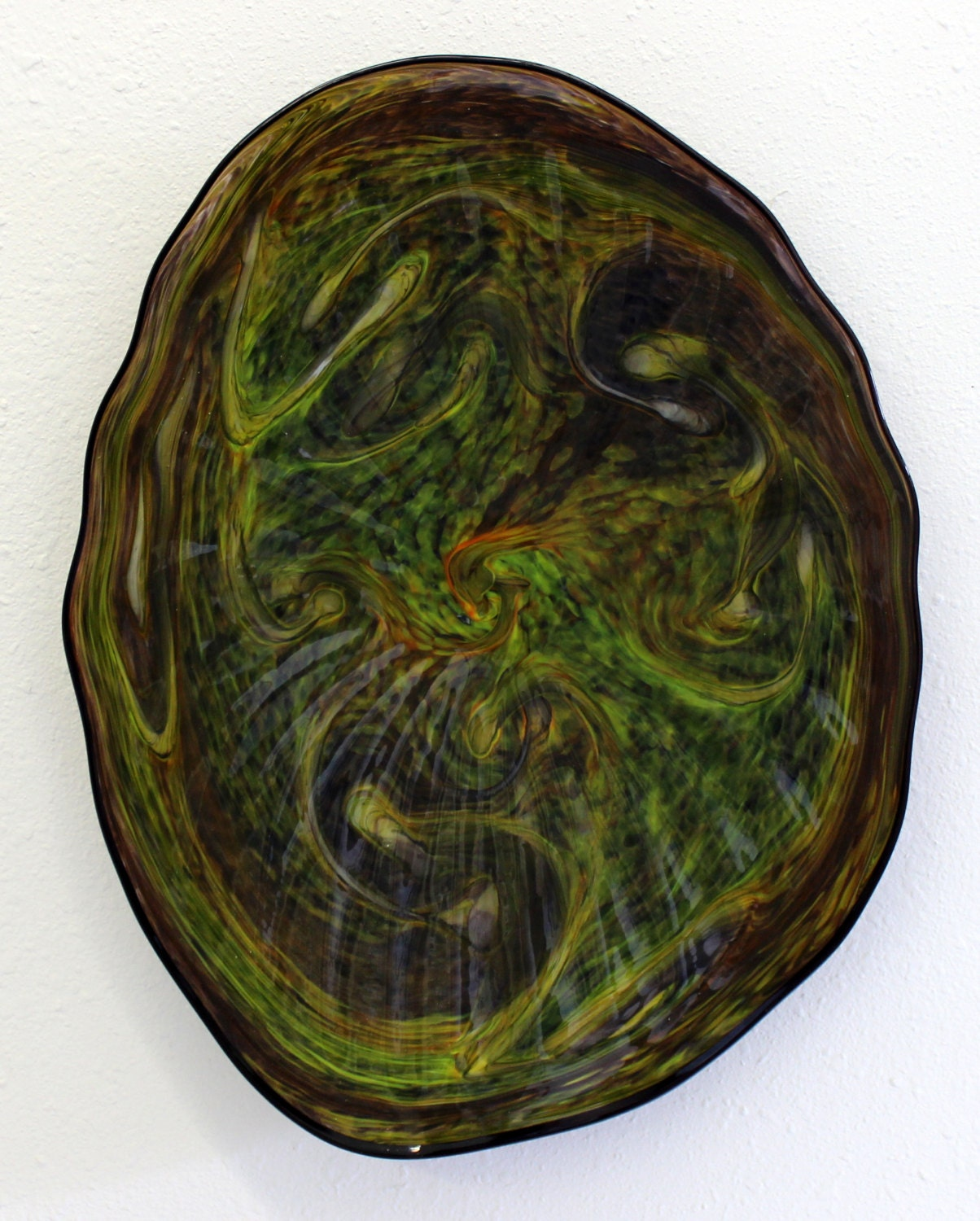 Blown Glass Wall Decor : Beautiful hand blown glass art wall platter bowl oneil