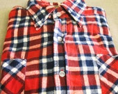 Flannel Shirt , Red Plaid Flannel , Sears , Cotton Flannel Shirt , Large , Sport Shirt , Woodsman , Mens Shirts , Mans Shirt , Shirt