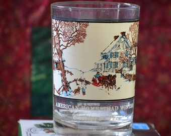 Rocks Glass/Vintage Arby's Currier & Ives Drinking Glass/American Homestead in the Winter Water Glass/Series #1 Holiday Glassware 1975-1976