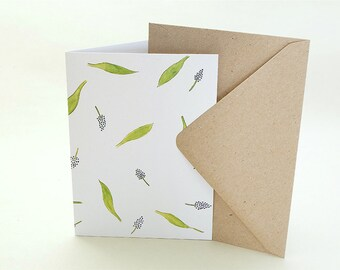 Floral Greeting Card | Hyacinths | Leaves | Botanical Card | Floral Congratulations Card | Easter Card | Love Card | Mothers Day Card |