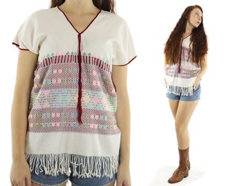 Vintage 70s Tunic Blouse Short Sleeve Mexican Ethnic Shirt Caftan Top 1970s Embroidered Shirt Fringe White Cotton
