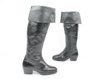 Vintage 80s Pierre Balmain Riding Boots Black Leather Knee High Pirate 1980s Womens size 6.5