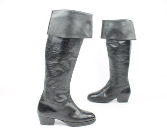 Vintage 80s Pierre Balmain Riding Boots Black Leather Knee High Pirate 1980s
