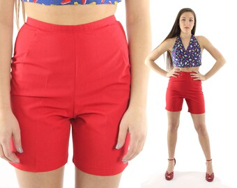 Vintage 50s 60s Red Shorts High Waisted Pinup Rockabilly 1950s 1960s Clam Cigarette Diggers Capri Pants Small S