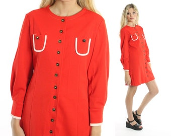 Vintage 60s Mod Mini Dress Orange Red A Line Long Sleeve 1960s Medium M