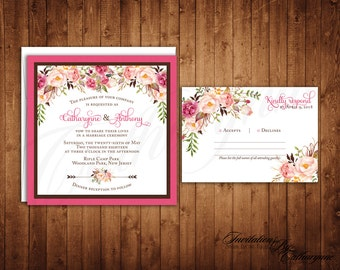 Spring Wedding Invitations, Rustic Floral Wedding Invitations, Bohemian Chic Wedding, Pink Wedding Flowers, Vintage Floral Invitations, Boho