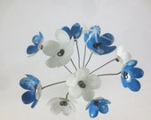Icy Blue and White Bouquet Forever Blooming Tin Flowers
