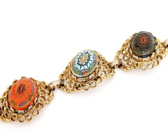 Vintage Gold Filigree Bracelet with Red, Blue and Black Matrix Stones  7 Inches
