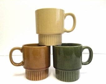 Vintage Stackable Coffee Mugs Made in Japan Set of 3 Gold Olive Green Brown 70s