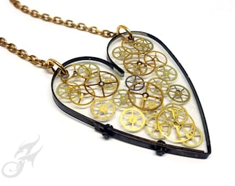 Steamunk Resin Floating Heart Necklace ~ Clear Background Showcases Watch Gears ~ Handmade Dark Brass Bezel ~ Bright Brass Chain ~ #N0678