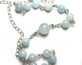 Prayer Necklace, Rosary Style Necklace, Meditation Jewelry in Aquamarine Gemstones & Sterling Silver or 14k Gold Filled
