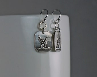 Forever In My Heart - Winged - Greyhound With Wings Earrings - French Hook - Fine & Sterling Silver