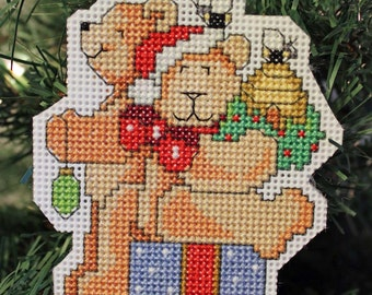 Teddy Bear Christmas Ornament - Handmade Cross Stitch