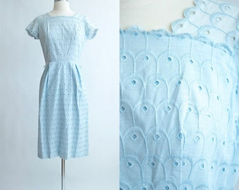 Vintage 50s Dress | 1950s Cotton Dress | Aldens Powder Blue Eyelet Wiggle Party Dress