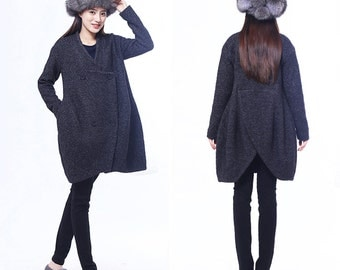 winter Gray wool cashmere  jacket and long sections