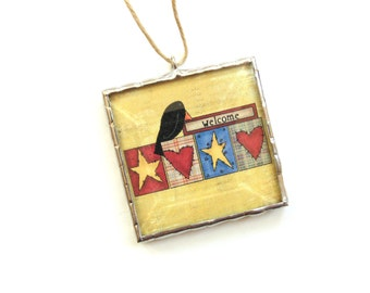 Country primitive ornament, stained glass ornament, Welcome ornament, patchwork hearts and stars, black crow, country prim home decor