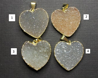 All Natural Druzy Drusy 24K Gold Electroplated Design Druzy Drusy Natural Heart Pendant Gold Edged, 26mm - HC-726